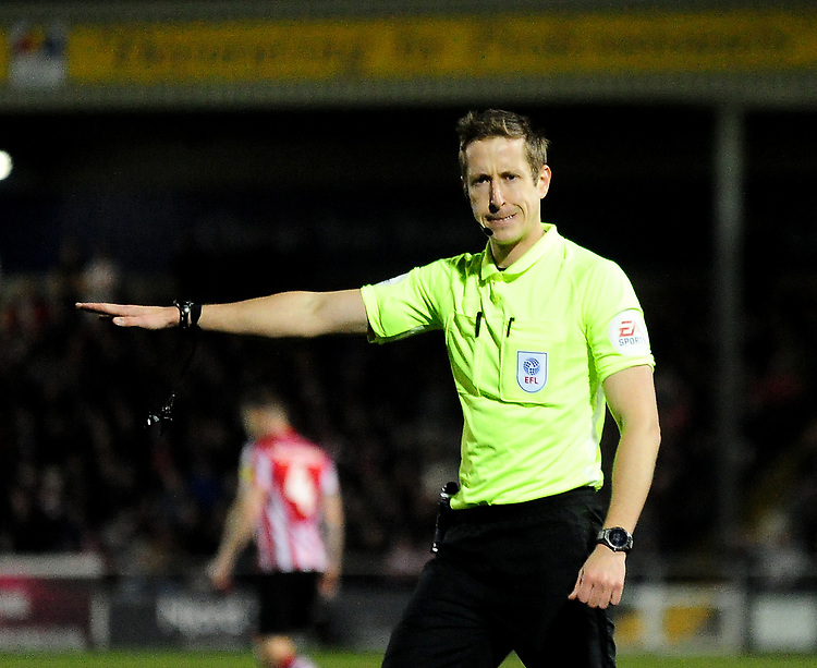 Referee John Brooks<br /> <br /> Photographer Andrew Vaughan/CameraSport<br /> <br /> The EFL Sky Bet League Two - Lincoln City v Exeter City - Tuesday 26th February 2019 - Sincil Bank - Lincoln<br /> <br /> World Copyright © 2019 CameraSport. All rights reserved. 43 Linden Ave. Countesthorpe. Leicester. England. LE8 5PG - Tel: +44 (0) 116 277 4147 - admin@camerasport.com - www.camerasport.com
