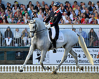 16.05.2014.  Windsor Horse Show London Michael Eilberg (GBR) riding Half Moon Delfi during the CD13* FEI Grand Prix Freestyle to music