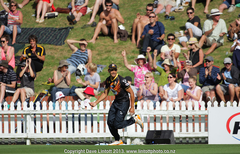 Illi Tugaga celebrates catching Ryan ten Doeschate during the HRV Cup Twenty20 cricket match between the Wellington Firebirds and Otago Volts at Hawkins Finance Basin Reserve, Wellington, New Zealand on Friday, 11 January 2013. Photo: Dave Lintott / lintottphoto.co.nz