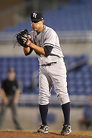 Tampa Yankees pitcher Manuel Barreda #11 during a game against the Dunedin Blue Jays at Dunedin Stadium on April 28, 2012 in Dunedin, Florida.  Dunedin defeated the Yankees 6-1.  (Mike Janes/Four Seam Images)