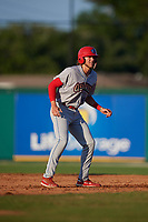 Clearwater Threshers Alec Bohm (40) leads off second base during a Florida State League game against the Dunedin Blue Jays on May 11, 2019 at Jack Russell Memorial Stadium in Clearwater, Florida.  Clearwater defeated Dunedin 9-3.  (Mike Janes/Four Seam Images)