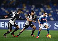 26th January 2020; Stadio San Paolo, Naples, Campania, Italy; Serie A Football, Napoli versus Juventus; Mario Rui of Napoli holds off Paulo Dyabala and Rodrigo Bentancur of Juventus