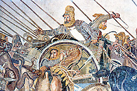 Greek Art:   Mosaic--The Battle of Issus.  National Museum, Naples.