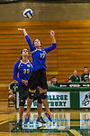 1 November 2015: Yeshiva University Maccabee Right Side and Outside Hitter Ilana Leggiere, a Sophomore from New York, NY, hits against the SUNY College at Old Westbury Panthers at SUNY Old Westbury in Old Westbury, NY. The Panthers edged out the Maccabees 3-2 in NCAA women's volleyball, Skyline Conference play. Mandatory Credit: Ed Wolfstein Photo *** RAW (NEF) Image File Available ***