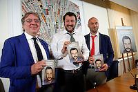 Matteo Salvini con i coautori del libro Rodolfo Sala e Matteo Pandini<br /> Roma 04-05-2016 Stampa Estera. Presentazione del libro 'Secondo Matteo'.<br /> Foreign Press. Presentation of the book 'Secondo Matteo'<br /> Photo Samantha Zucchi Insidefoto