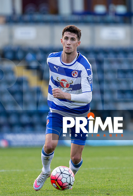 Shane Griffin of Reading on the ball during the Barclays U21 Premier League match between Reading and Everton at Adams Park, High Wycombe, England on 9 December 2015. Photo by Andy Rowland.