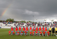 Boyds, MD - Saturday May 14, 2016: Houston Dash under a rainbow before a regular season National Women's Soccer League (NWSL) match at Maureen Hendricks Field, Maryland SoccerPlex. The Washington Spirit defeated the Houston Dash 1-0.