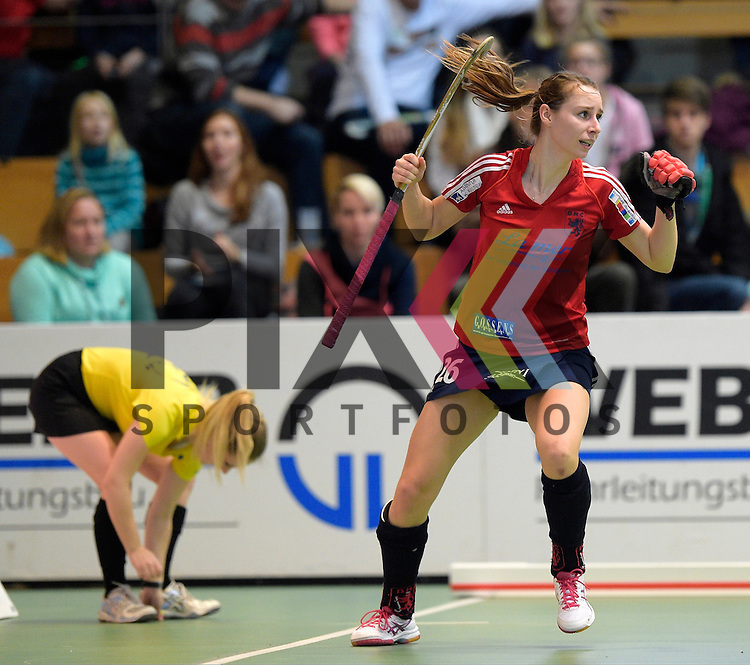 GER - Luebeck, Germany, February 06: During the 1. Bundesliga Damen indoor hockey semi final match at the Final 4 between Berliner HC (blue) and Duesseldorfer HC (red) on February 6, 2016 at Hansehalle Luebeck in Luebeck, Germany. Final score 1-3 (HT 0-1).  Elisa Graeve #26 of Duesseldorfer HC<br /> <br /> Foto &copy; PIX-Sportfotos *** Foto ist honorarpflichtig! *** Auf Anfrage in hoeherer Qualitaet/Aufloesung. Belegexemplar erbeten. Veroeffentlichung ausschliesslich fuer journalistisch-publizistische Zwecke. For editorial use only.