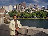 "Adrian Walker on Longfellow Bridge, Boston, MA for ""Black Enterprise""; writes column for boston Globe"