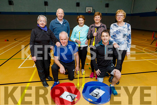 Launching the Active Retired exercise, fun and games programme who have received age opportunity funding in the Listowel Community Centre on Tuesday. <br /> Kneeling l to r: Jimmy Dennihan (Kerry Recreation and Sports Partnership) and Conor O'Neil.<br /> Back l to r: Nell Reidy, Bill Doyle, Jane McCarron, Kathleen Lawlor and Madeline Allman.