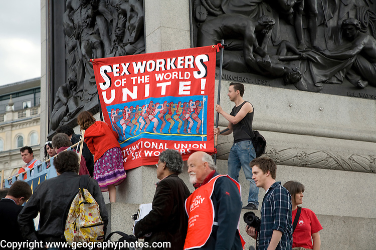 May Day march and rally at Trafalgar Square, May 1st, 2010 Sex Workers of the World Unite banner