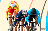 Picture by Alex Whitehead/SWpix.com - 09/12/2017 - Cycling - UCI Track Cycling World Cup Santiago - Velódromo de Peñalolén, Santiago, Chile - France's Francois Pervis and Canada's Hugo Barrette come into contact in the Men's Keirin first round.