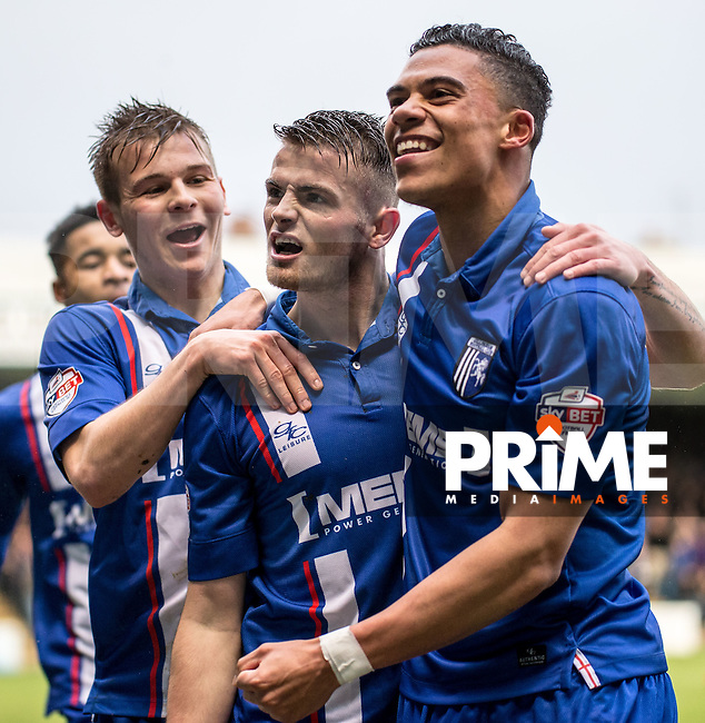 Rory Donnelly of Gillingham (centre) celebrates his goal during the Sky Bet League 1 match between Gillingham and Bradford City at the MEMS Priestfield Stadium, Gillingham, England on the 2nd January 2016. Photo by Liam McAvoy.
