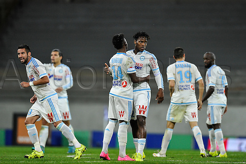 23.09.2015. Toulouse, France. French League 1 football. Toulouse versus Marseille. Goal celebrations from Michy Batshuayi (om)