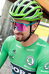 Green Jersey holder Peter Sagan (SVK) Bora-Hansgrohe in the Tour Village before the start of Stage 14 of the 2019 Tour de France running 117.5km from Tarbes to Tourmalet Bareges, France. 20th July 2019.<br /> Picture: Colin Flockton | Cyclefile<br /> All photos usage must carry mandatory copyright credit (© Cyclefile | Colin Flockton)