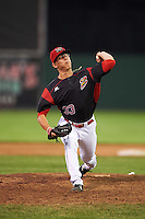 Batavia Muckdogs relief pitcher Shane Sawczak (33) during a game against the West Virginia Black Bears on June 30, 2016 at Dwyer Stadium in Batavia, New York.  Batavia defeated West Virginia 4-3.  (Mike Janes/Four Seam Images)