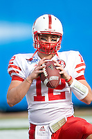 January 1, 2009:   Nebraska quarterback Joe Ganz (12) warms up prior to the start of first half game action in the 64th annual Konica Minolta Gator Bowl between the Nebraska Cornhuskers  and the Clemson Tigers  at Jacksonville Municipal Stadium in Jacksonville, Florida.