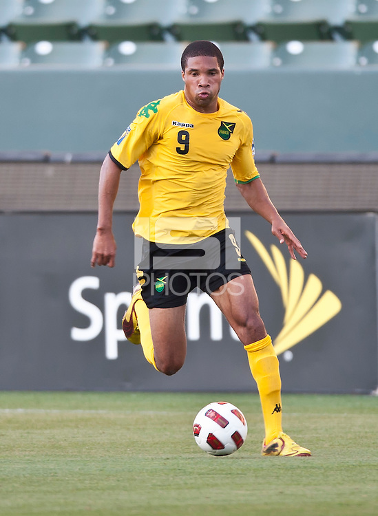 CARSON, CA – June 6, 2011: Jamaican Ryan Johnson (9) during the match between Grenada and Jamaica at the Home Depot Center in Carson, California. Final score Jamaica 4 and Grenada 0.