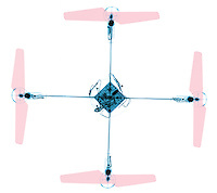 An X-ray of a quadcopter, also called a quadrotor helicopter.  The quadcopter propelled by four propellers. Quadcopters are classified as rotorcraft, as opposed to fixed-wing aircraft, because their lift is generated by a set of revolving narrow-chord airfoils.  Quadcopter designs have become popular in unmanned aerial vehicle (UAV) research. These vehicles use an electronic control system and electronic sensors to stabilize the aircraft. With their small size and agile maneuverability, these quadcopters can be flown indoors as well as outdoors.