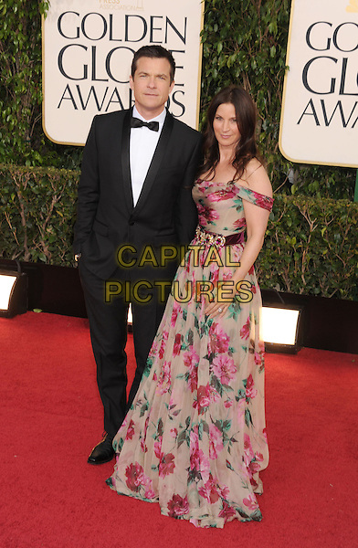 Jason Bateman & Amanda Anka.Arrivals at the 70th Annual Golden Globe Awards held at the Beverly Hilton Hotel, Hollywood, California, USA..January 13th, 2013.globes full length black tuxedo white shirt tie pink grey gray blue print dress off the shoulder married husband wife .CAP/GAG.©GAG/Capital Pictures
