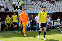 Oliver Burke leads out the Scotland U21 team during South Korea Under-21 vs Scotland Under-21, Tournoi Maurice Revello Football at Stade Parsemain on 2nd June 2018