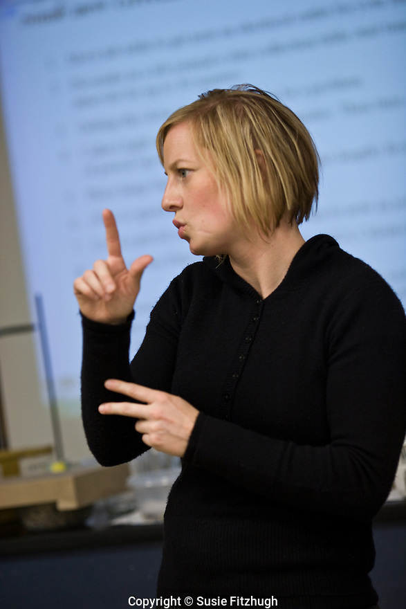 Monica Barrus works in the Seattle Public Schools as an Interpreter for the Deaf.
