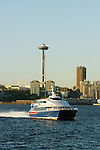 Seattle, Space Needle, Victoria Clipper, Seattle skyline, Washington State, Puget Sound, Elliott Bay, Pacific Northwest, High-speed passenger ferry service from Seattle to Victoria, British Columbia