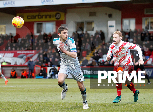 Grimsby's Shaun Pearson gives chase during the Sky Bet League 2 match between Stevenage and Grimsby Town at the Lamex Stadium, Stevenage, England on 28 January 2017. Photo by Carlton Myrie / PRiME Media Images.