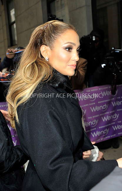 WWW.ACEPIXS.COM<br /> <br /> January 20 2015, New York City<br /> <br /> Actress and singer Jennifer Lopez arriving at 'The Wendy Williams Show' on January 20 2015 in New York City<br /> <br /> Please byline: Curtis Means/ACE Pictures<br /> <br /> Ace Pictures, Inc:  <br /> tel: (646) 769 0430<br /> e-mail: info@acepixs.com<br /> web: http://www.acepixs.com