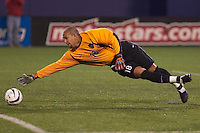 MetroStars goal keeper Tim Howard was unable to stop a shot by Zizi Roberts in the 41st minute. The Colorado Rapids played the NY/NJ MetroStars on 5/3/03 at Giant's Stadium, NJ.