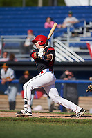 Batavia Muckdogs catcher Alex Jones (43) at bat during a game against the West Virginia Black Bears on June 25, 2017 at Dwyer Stadium in Batavia, New York.  Batavia defeated West Virginia 4-1 in nine innings of a scheduled seven inning game.  (Mike Janes/Four Seam Images)