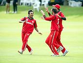 ICC World T20 Qualifier - GROUP B MATCH - Afghanistan v Oman at Heriots CC, Edinburgh - Oman celebrate— credit @ICC/Donald MacLeod - 15.07.15 - 07702 319 738 -clanmacleod@btinternet.com - www.donald-macleod.com