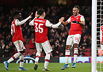 Pierre-Emerick Aubameyang of Arsenal celebrates scoring the first goal during the UEFA Europa League match at the Emirates Stadium, London. Picture date: 28th November 2019. Picture credit should read: David Klein/Sportimage