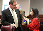 Nevada Senators John Lee, D-North Las Vegas, and Elizabeth Halseth, R-Las Vegas, talks on the Senate floor at the Legislature, in Carson City, Nev., on Monday, March 28, 2011.  .Photo by Cathleen Allison