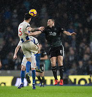 Burnley's Chris Wood (right) battles with Brighton &amp; Hove Albion's Lewis Dunk (left) <br /> <br /> Photographer David Horton/CameraSport<br /> <br /> The Premier League - Brighton and Hove Albion v Burnley - Saturday 9th February 2019 - The Amex Stadium - Brighton<br /> <br /> World Copyright &copy; 2019 CameraSport. All rights reserved. 43 Linden Ave. Countesthorpe. Leicester. England. LE8 5PG - Tel: +44 (0) 116 277 4147 - admin@camerasport.com - www.camerasport.com