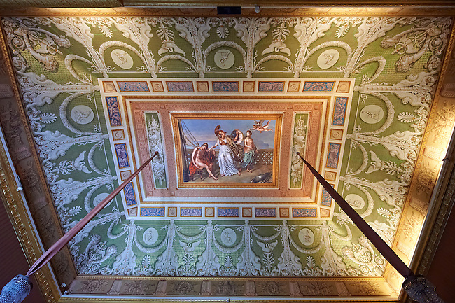 Vaulted of the First Antichamber of Joachim Murat with its fresco by Franz Hill of Telemachus being healed by Minerva  from the darts of Cupid. The Kings of Naples Royal Palace of Caserta, Italy. A UNESCO World Heritage Site