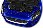 Car stock 2018 Jaguar E-PACE R-Dynamic S 4WD 5 Door SUV engine high angle detail view