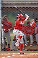 Philadelphia Phillies Andrick Nava (10) at bat during an Instructional League game against the Detroit Tigers on September 19, 2019 at Tigertown in Lakeland, Florida.  (Mike Janes/Four Seam Images)