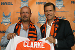 06 December 2011: Colin Clarke (left) with team president Curt Johnson (right). The Carolina RailHawks introduced Colin Clarke (NIR) as the team's new head coach at a press conference held at WakeMed Stadium in Cary, North Carolina. The RailHawks play in the North American Soccer League, the second division of professional soccer in the United States and Canada.