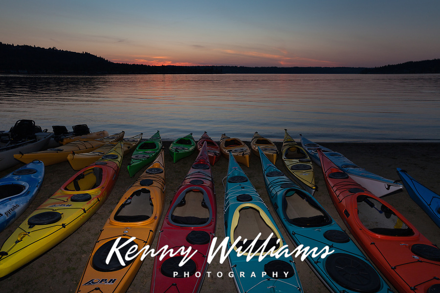 Kayaks at Twilight, Lake Sammamish State Park, Issaquah, Washington State, WA, America, USA.