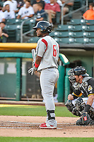 Angelys Nina (6) of the Albuquerque Isotopes at bat against the Salt Lake Bees in Pacific Coast League action at Smith's Ballpark on June 27, 2015 in Salt Lake City, Utah. The Bees defeated the Isotopes 8-6. (Stephen Smith/Four Seam Images)