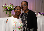 WATERBURY, CT. 13 April 2018-041318BS18 - Panelist and Speaker IJE Alzunyili of Greenwich poses for a photo with her daughter Indira Brou at the 27th Annual (TGIF) Thanks God I'm Female Women Wellness Forum put on by Waterbury Hospital at La Bella Vista on Friday evening. Bill Shettle Republican-American