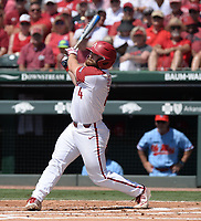 NWA Democrat-Gazette/ANDY SHUPE<br /> Arkansas first baseman Trevor Ezell doubles Saturday, June 8, 2019, to lead off the first inning against Ole Miss in the NCAA Super Regional game at Baum-Walker Stadium in Fayetteville. Visit nwadg.com/photos to see more photographs from the game.