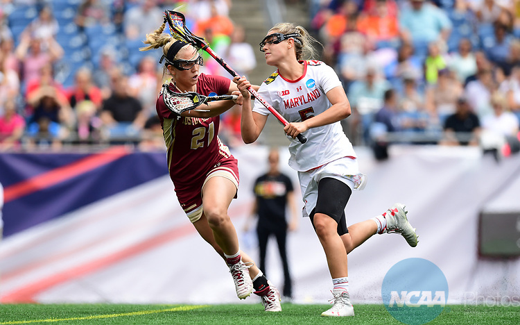 FOXBORO, MA - MAY 28:  Jen Giles #5 of the Maryland during the Division I Women's Lacrosse Championship held at Gillette Stadium on May 28, 2017 in Foxboro, Massachusetts. (Photo by Ben Solomon/NCAA Photos via Getty Images)