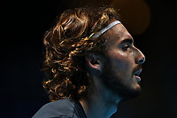 17th November 2019; 02 Arena. London, England; Nitto ATP Tennis Finals; Stefanos Tsitsipas (Greece) during his practice session before the mens singles final - Editorial Use