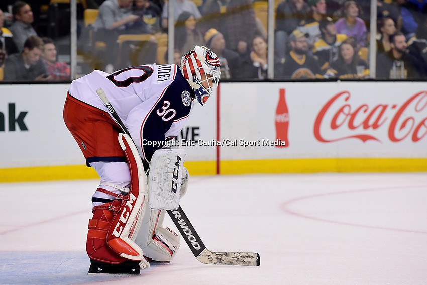 Monday, September 26, 2016: Columbus Blue Jackets goalie Curtis McElhinney (30) tends the net during the NHL game between the Columbus Blue Jackets and the Boston Bruins held at TD Garden, in Boston, Massachusetts. Columbus defeats Boston 3-2 in an overtime shoot out. Eric Canha/CSM