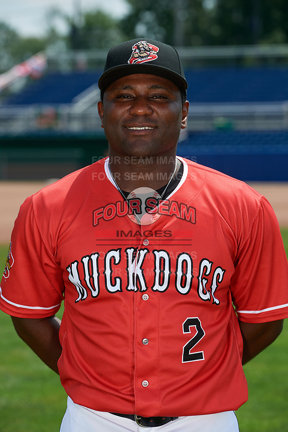 Batavia Muckdogs Defensive Coach Ronnie Richardson (2) poses for a photo on July 2, 2018 at Dwyer Stadium in Batavia, New York.  (Mike Janes/Four Seam Images)