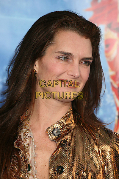 "BROOKE SHIELDS.Attending ""Blades of Glory"" Los Angeles Premiere at Grauman's Chinese Theatre, Hollywood, California.28 March 2007..portrait headshot bronze metallic jacket.CAP/ADM/BP.©Byron Purvis/AdMedia/Capital Pictures."