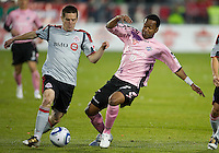 28 April 2010: Toronto FC midfielder Sam Cronin #2 and Montreal Impact forward Roberto Brown #10 battle for a ball during a Nutrilite Canadian Championship game between the Montreal Impact and Toronto FC at BMO Field in Toronto..Toronto FC won 2-0.....