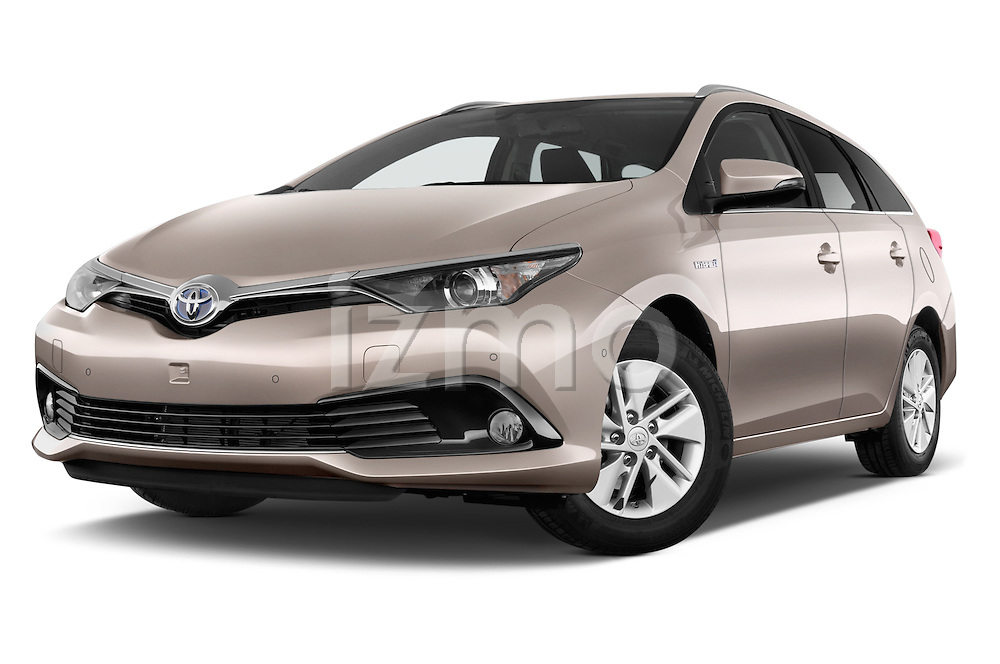 Stock pictures of low aggressive front three quarter view of 2015 Toyota Auris Touring Sports Business Plus 5 Door Wagon Low Aggressive